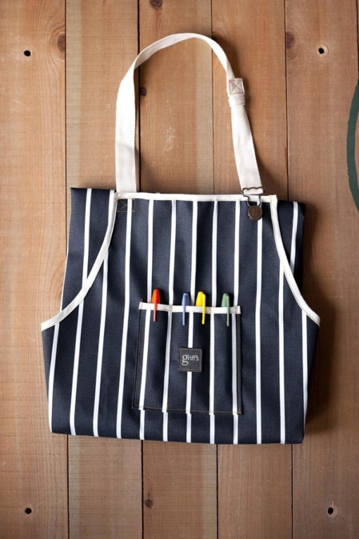 box of navy stripe sargent cook aprons